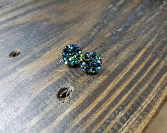 Blue and Green Faux Druzy Stud Earrings - 12mm - Surgical Steel