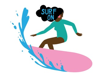 Surf Art Print of an Original Illustration, Giclee Print