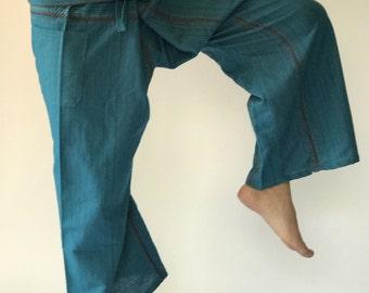TCZ0006 Handmade Thai Fisherman Pants Wide Leg pants, Wrap pants, Unisex pants