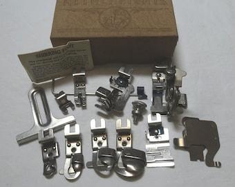 1940s Box of 12 Greist Sewing Machine Attachments, Ruffler, Edge Stitcher, 5 Sizes of Hemmers, Binder, Vintage Sewing Machine Attachments