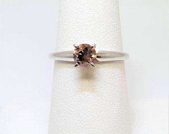Pink Brown .70ct Diamond 14kt White Gold Solitaire Ring Size 7