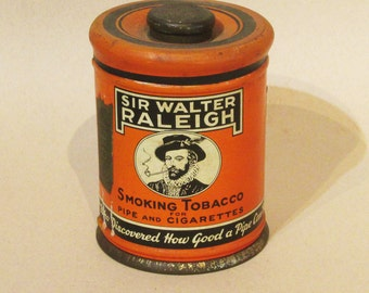 Sir Walter Raleigh - Tobacco Canister Tin - Very good - Nicely Aged!