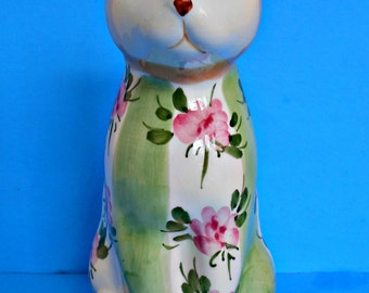 Seymour Mann Ceramic Kitty Cat Figurine, Country Rose Collection, Pink Roses, Green White Striped Design,Hand Painted,Tan Feline,Collectible