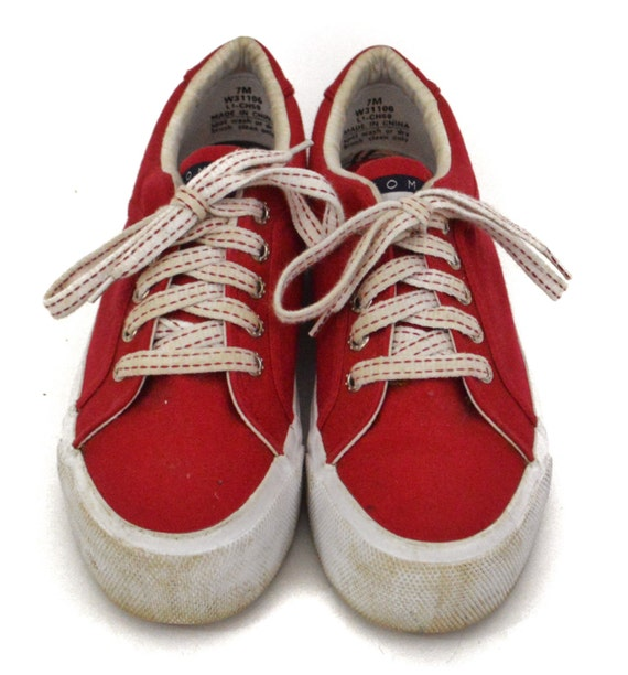 Vintage 90s Tommy Hilfiger Red Platform Style Sole Sneakers Shoes Sz 7M