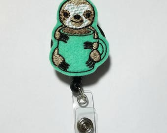 Sloth Coffee Cup Badge Reel-Id holder- Retractable Badge Holder- Nursing Id Reel