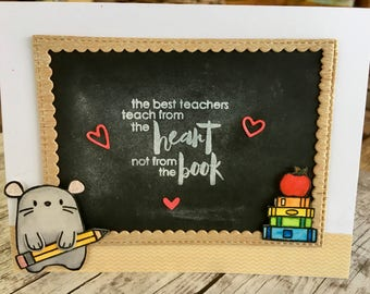 Super Special Chalkboard Teacher Appreciation/Thank YOU Card with Mouse.