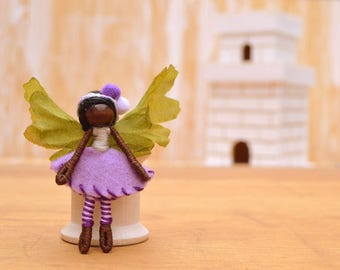 Miniature Fairy Doll - miniature fairies, flower fairy doll, flower fairies, waldorf fairy doll, waldorf fairies, dark skin fairy doll