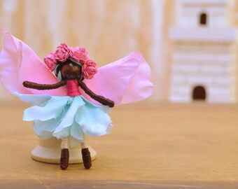 Flower Fairy Doll - flower fairies, miniature fairy doll, miniature fairies, waldorf fairy doll, waldorf fairies, black fairy doll