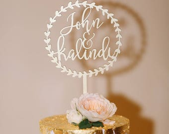"Personalize Names with Circle Wreath Wedding Cake Topper 5.5"" inches, Personalized Custom Unique Laser Cut Rustic Toppers by Ngo Creations"