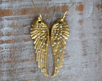 Gold Sparkling Angel Wing Earrings