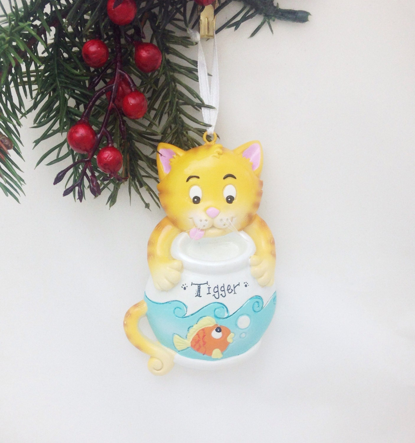 Personalized cat christmas ornaments - Clearance Personalized Cat Christmas Ornament Yellow Cat With A Goldfish Bowl Ornament Kitty Ornament Personalized Ornament