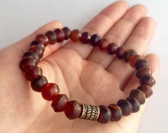 Mens bracelets, Amber Bone Bracelet, Beaded Bracelet, Brown Bone Bead Bracelet