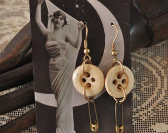 Antique Bone Button Safety Pin Earrings