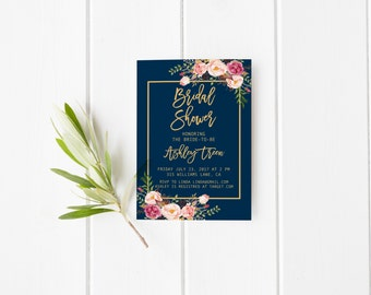 navy and gold bridal shower invitation blush bridal shower invitation navy and blush bridal - Navy And Blush Wedding Invitations