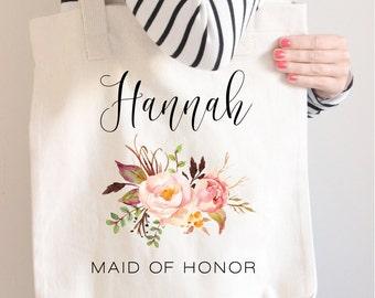 Personalized tote, Maid of Honor Tote Bag, Bridesmaid Gift, Blush tote, Maid of honor proposal, Beach bag, Floral Wedding bag, Bridal Shower
