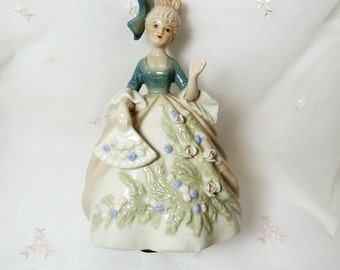 Victorian Lady Figurine // Beige Dress with Green Bodice // Floral Accents in Hair and on Dress Skirt