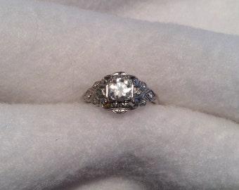 Vintage Art Deco Platinum Illusion Setting 1/2 Carat Diamond Ring in Box Size 7, c. 1920