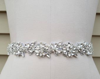 SALE - Wedding Belt, Bridal Belt, Sash Belt, Crystal Rhinestone Sash - Style B7235