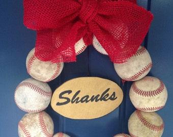 Burlap Baseball Wreath with Name