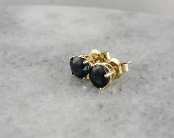 Vintage Deep Sapphire Studs, Sapphire Stud Earrings, Vintage Sapphire Earrings, Midnight Blue Earrings 3FVLJR-R