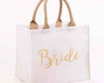 Bride Gold Shimmer Bag with Burlap Jute Handles - Embroidered Personalized