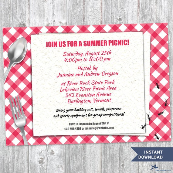 Printable Red Gingham Summer Picnic With Ants Party Invitation