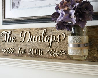 Reclaimed Wood Wedding Established Sign. Last Name Wood Sign. 3D Rustic Personalized Anniversary Signs for Home.