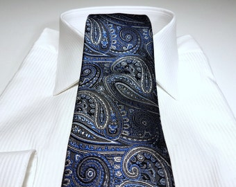 Silk Tie in Paisley with Truffle Brown Cornflower Capri Blue Midnight Navy and Sterling Silver