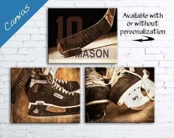 Hockey art, Hockey decor, Personalized Hockey gift, Sports decor, Boys room decor, Sports Canvas art, Kids room art // Vintage Hockey art