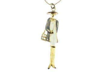 Enamel Lady Pendant Necklace, Enamel Woman Pendant Necklace, Long Gold Chain Necklace with Large Enamel Pendant
