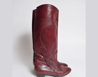 Vintage 80's Red Genuine Leather Tall Boots with Side Buckle