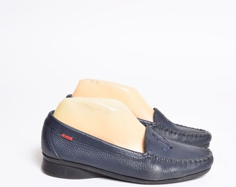 Vintage Blue Leather Sailor Boat Shoes Loafers with Anchor Design