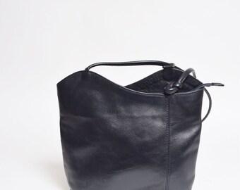 Vintage 90's Black Leather Handbag / Backpack / Shoulder Bag