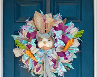 READY TO SHIP Easter Bunny Wreath with Carrots