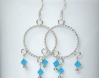 Silver Hoop Chandelier Earrings with Swarovski Turquoise Crystal Beads