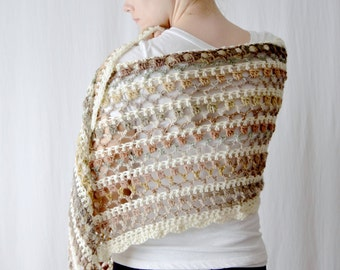 Striped Bohemian Lace Wrap, Crochet Shawl, Gifts for Her, Natural Blanket Scarf, Knitwear, Statement Scarf, Fashion Accessory, Boho Wrap