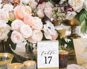 Printed Marble Table Numbers, Wedding Table Numbers, 4x6, 5x7, tented, folded