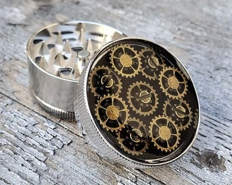 Steampunk Herb Grinder - Steampunk Clock Mech Gold Mess