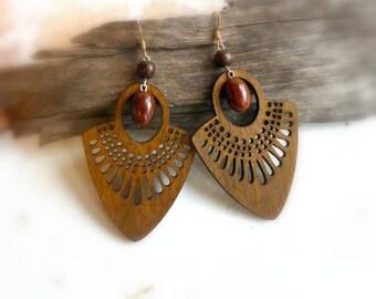 Dark brown tribal earrings , Laser cut wood jewelry gift , large bohemian wooden earrings