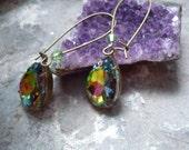 crystal vitrail earring, drop crystal earring, vintage inspired earring, downton abbey earrring, antique bronze earring