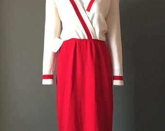 Gorg Vtg 80s St John Marie Gray New Old Stock w/Tags Attached Crimson Ivory Knit Dress 6 M L