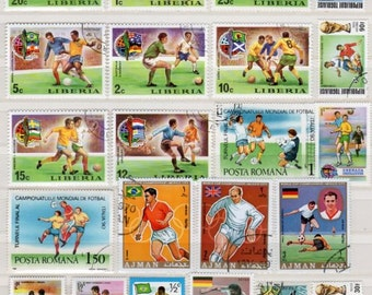 Lot Soccer Stamps, Stamp Collection, Postage Stamps, Stamps, Sports Stamps, Decoupage, Collages, Scrapbooking