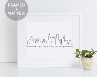 Custom City Print, Framed Skyline Art, New Home Gift, Housewarming Gift, Custom Coordinates, Apartment Decor,  Black and White Print