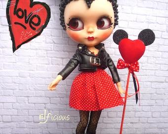 Ooak custom Blythe doll - Bubble Minnie Mouse