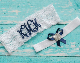 Blue Garter | Wedding Garters | Lace Garter | Monogram Garter  | Garter Sets  | Something Blue