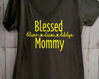 Blessed Mommy with Names Shirt/Mother's Day Shirt/Grandma Shirt
