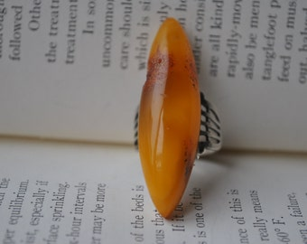 Vintage Sterling Amber Ring - 1940s Sterling and Baltic Amber, Large Amber Ring, Size 8
