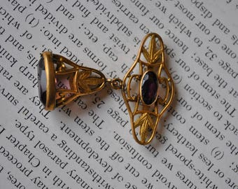 Antique Amethyst Glass Watch Fob - 1900s Art Nouveau Gilded Gold Fob, Buckle Fob