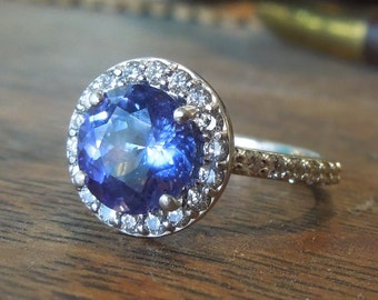 Extra Fine Violet Blue Tanzanite and Diamond Halo Ring in White Gold