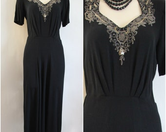 30s 40s Vintage Black Crepe Dress Gown Glamour Silver Glass Beads Sequins